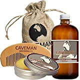 Caveman Beard Oil and Beard/Mustache Balm Wax, Handmade Comb Set in Drunken Caveman (Bay Rum) Scent 1oz oil, balm, comb