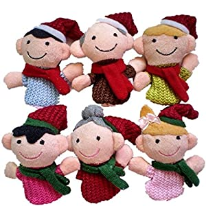 6PCS A SET Finger Puppet/Dolls/Toys Story-telling Props/Tools Toy Model Babies/Kids/Children Toys,Christmas family from Viskey
