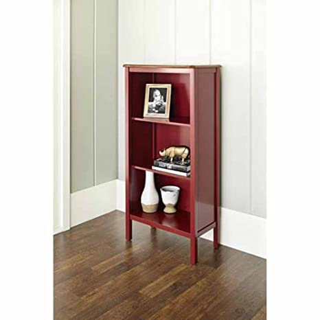 Bookcase with 3-shelves and a Curved, Deep Walnut Finished Top Panel Is a Stylish, Noteworthy and Ideal Storage Area for Your Home or Office. This Bookshelf Is a Beautiful Cabinet That Will Put Extra Storage Space in Your Kitchen. (red)