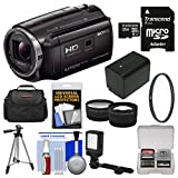 Sony Handycam HDR-PJ670 32GB Wi-Fi 1080p HD Video Camera Camcorder with Projector + 32GB Card + Case + LED Light + Battery + Tripod + Filter + Tele/Wide Lens Kit