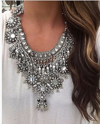 Pinbo Women Vintage Design Silver Long Boho Statement Necklace Trendy Turkish Jewelry