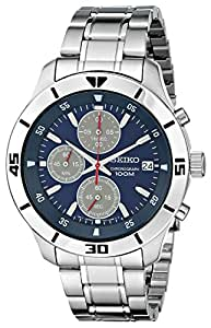 """Seiko Men's SKS413 """"Amazon Exclusive"""" Stainless Steel Watch with Triple-Link Bracelet"""