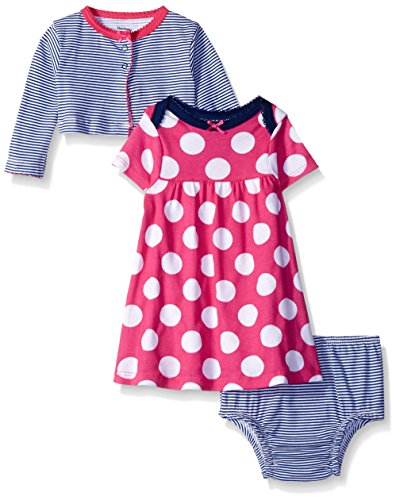 Gerber Baby Three-Piece Cardigan, Dress and Diaper Cover Set, Dots, 0-3 Months