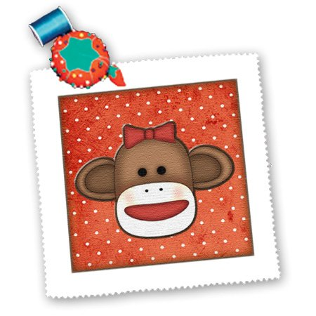3dRose qs_102831_2 Cute Sock Monkey Girl-Quilt Square, 6 by 6-Inch