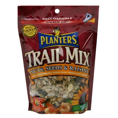 Planters Trail Mix, Nuts, Seeds, Raisin, 6-Ounce Bags (Pack of 12)