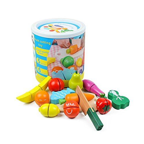 Youtop Wooden Cutting Fruits and Vegetables Toy Playset Pretend Play for Kids w/ Container