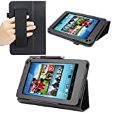 Evecase SlimBook Leather HandStrap Folio Stand Case Cover for Hisense Sero 7 Pro - 7'' Android Tablet - Black