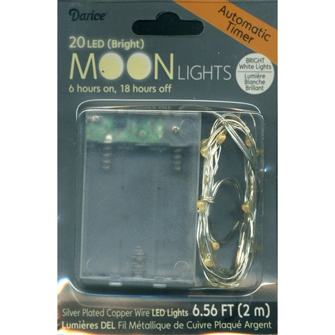Moon Lights - 20 Bright White Led Lights On Silver Plated Wire - Automatic Timer