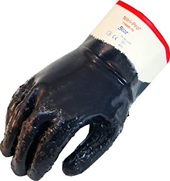 Showa Best 7166R Nitri-Pro Fully-Coated Nitrile Glove, Rough Grip, Cotton Jersey Liner, Reinforced Safety Cuff