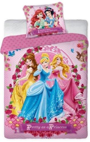 Copripiumino Cotone Singolo 160x200+70x80 Disney Principesse Pretty Princess