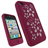 IGadgitz Pink & White Flower Design Silicone Skin Case Cover for Apple iPhone 4 HD 16GB & 32GB + Screen Protector