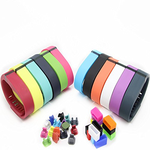 SnowCinda 12pcs Wristband Wrist Band Bracelet with Clasp Replacement Accessory 12pcs silicone holder and 16pcs colored metal buckle for Fitbit Flex (small)