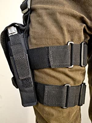 Outbags OB-03TAC Nylon Tactical Drop Leg Holster with Mag Pouch for S&W M&P 9 / 22 / 40 / 45, S&W 357 / 5904 / 4013 / SD9, Springfield XD40 / XD45, Sig Sauer 1911-22 / P226, and More