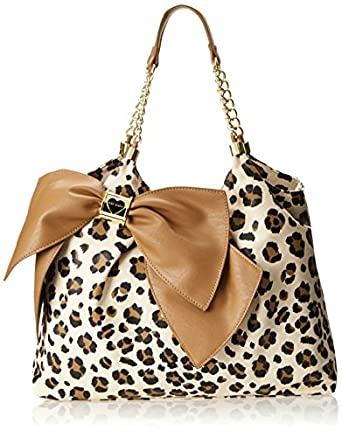 Betsey Johnson Bow Licious Tote,Leopard,One Size