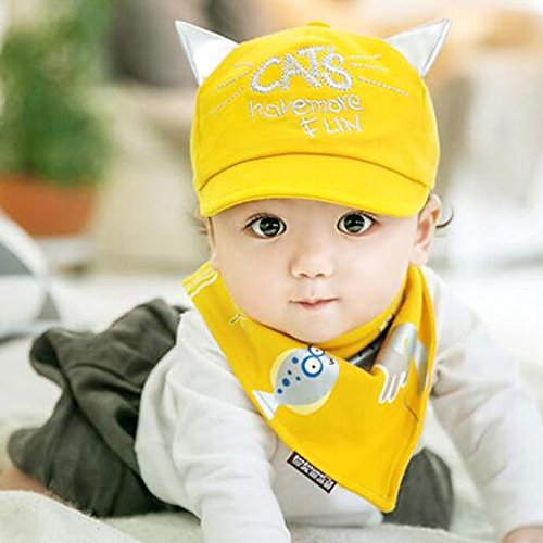 KAKATM-Babys-Girls-Boys-Lovely-Spring-Summer-Hat-Cute-Peaked-Cap-with-Scarf-Yellow