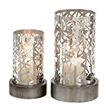 Deco 79 Metal Candle Holder, 11 by 8-Inch, Dotted Steel, Set of 2