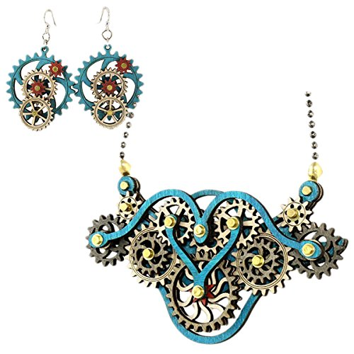 Green-Tree-Handmade-Steampunk-Kinetic-Winged-Gear-Necklace-and-Earring-Set-Blue-6004F-5003C