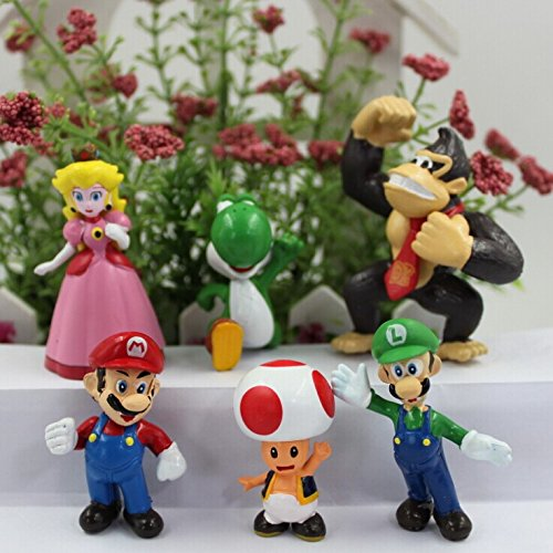 6pcs/set PVC Super Mario Bros Luigi Mario Action Figures Toys Doll Set Action Figures