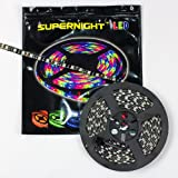 SUPERNIGHT (TM) 16.4ft 5M Black PCB SMD 5050 RGB Waterproof LED Strip Flexible Flash light 300 Leds LED Light Strip 60Leds/M