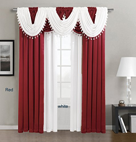 "Fancy collection High Quality Crinkled Rod-Pocket Window Treatment Curtain (1 Panel 54"" inch Wide x 84"" inch Long, Red)"
