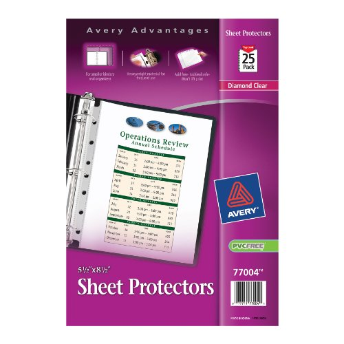 Avery Mini Heavyweight Sheet Protectors, 5.5 x 8.5 Inches, Pack of 25 (77004) (2 Pocket Sheet Protectors compare prices)