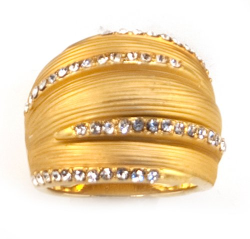 18k Gold Plated with Created Crystal Ring