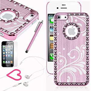 Pandamimi iphone 5 case - Deluxe Baby Pink Bling Diamond Rhinestone Aluminum Chrome Hard Case Cover for Apple iPhone 5 5G + Screen Protector