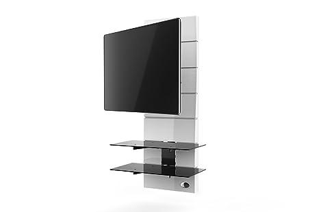 """Meliconi Ghost Design 3000 Rotation Supporto Doppio Braccio Orientabile per TV da 32"""" a 63"""" con Mensole in Vetro Temperato, Bianco"""