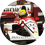 F1 AYRTON SENNA CAR No 1 * A CD/DVD (12 cm diameter) SIZED NOVELTY CD QUARTZ WALL CLOCK WITH FREE BATTERY AND DESK STAND * CAN BE PERSONALISED