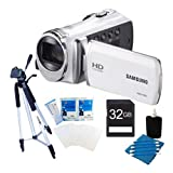 Samsung HMX-F90 Flash Memory HD Digital Video Camcorder (White) 32GB Deluxe Bundle