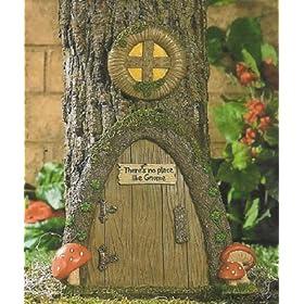 Garden Gnome Home Door in a Tree Art Pieces Outdoor Yard Decor