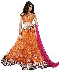 DesiButik's Wedding Wear Ravishing Orange Net Lehenga