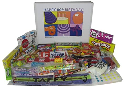 80th Birthday Gift Basket Box Of Retro Candy