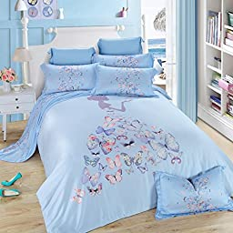 TheFit Paisley Textile Bedding for Adult U210 Princes Girl Butterfly Duvet Cover Set 100% Tencel, Queen King Set, 4 Pieces (Queen)