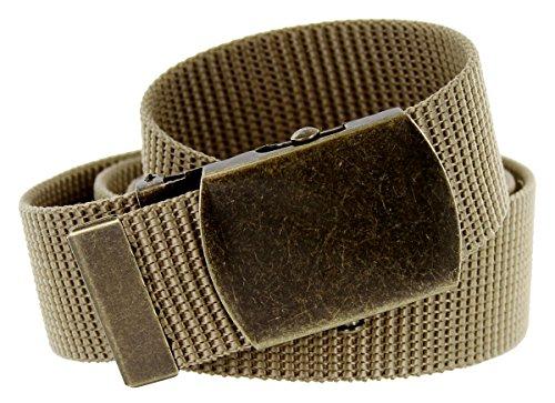 "Tactical Style Heavy Duty Nylon Web Belt with Slide Buckle 1.5"" Wide (One Size Khaki)"