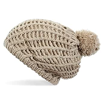 Distressed Damen Strickmütze mit Pompon Oversized Pudelmütze Bommelmütze beige