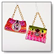 LADY HAND BAGS PURSES Funky 1970's-style Mod Glass Christmas Ornaments NEW