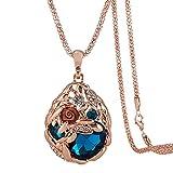 Hen-Night Austrian Crystal Rose Gold Wheat Shape Pendant Necklace.The Treasure In Cornfield