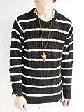 (モノマート) MONO-MART フィッシャーマン ニット セーター クルーネック 起毛 ゆる ケーブル編み 長袖 メンズ ブラック×ホワイト Mサイズ