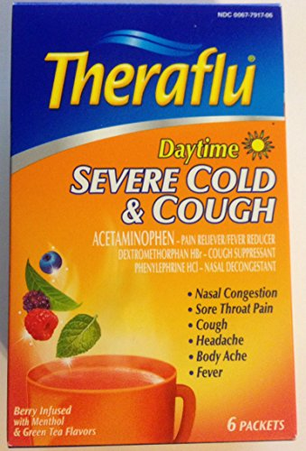Theraflu Daytime Severe Cold & Cough - Berry Infused With Menthol & Green Tea Flavors - 6 Packets Per Box - Pack Of 2 (12 Packets Total)