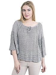 KASHANA Crepe Viscose Gray Floral Diamond Printed 3/4 Sleeve Plus Size Women Ladies Casual Top