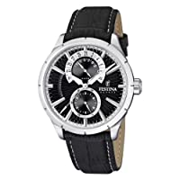 Festina Men's Analogue Watch F16573/3 with Leather Strap and Black Dial