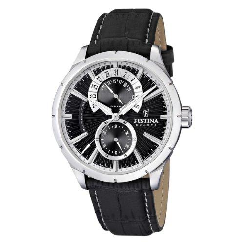 Festina F16573/3 - Reloj analógico de cuarzo para hombre con correa de piel, color negro