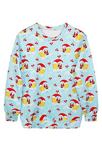 Pink Wind Funny Snowmen Snowflake Print Christmas Sweatshirt Sweater Light Blue