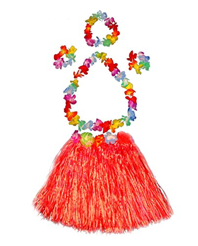 Girl's elastic Hawaiian hula dancer grass skirt with flower costume set-red