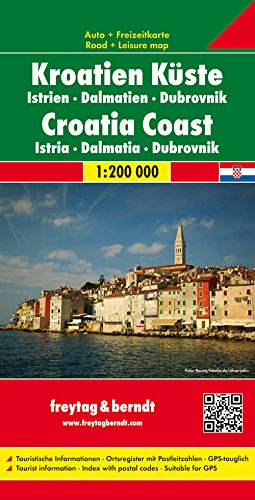 Costa Croata, Istria, Dalmacia, Dubrovnik mapa de carreteras. Escala 1:200.000. Freytag & Berndt. (Auto karte)