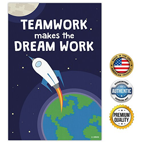 zendori-poster-teamwork-makes-the-dream-work-teamwork-quotes-12-x-18-rocket-navy