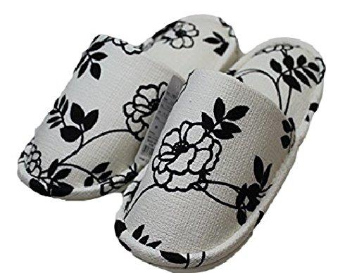北欧 coquelicot(コクリコ) スリッパ 外縫いタイプ A-2 CREAM(クリーム×黒の花)