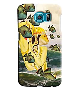 Blue Throat Fish In King Hard Plastic Printed Back Cover/Case For Samsung Galaxy S6 Edge