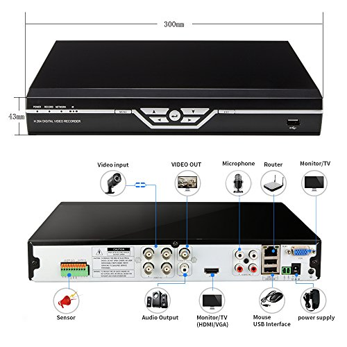 Zosi 4ch 720p Dvr Video Security System Four 1200tvl 3 6mm